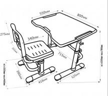 Парта-трансформер FunDesk Vivo II Grey + стул-трансформер