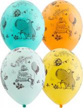 """Воздушный шарик 14""""/35см С днем рождения Бегемот с тортом 1 шт, цвет микс"""
