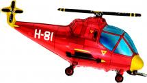 """Воздушный шарик 38""""/56*96 см Вертолет, красный"""