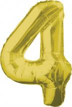 """Воздушный шарик 34""""/85 см Цифра 4, золото"""