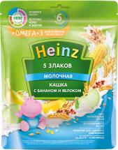 Каша Heinz молочная 5 злаков с бананом и яблоком с Омега-3 с 6 мес 200 г