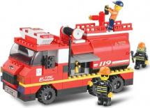 Конструктор Sluban Пожарные спасатели. Пожарная машина средняя 281 деталь