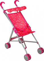 Коляска-трость для кукол Buggy Boom Mixy с крышей, сердечки (розовый)
