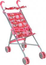 Коляска-трость для кукол Buggy Boom Mixy с крышей, цветы (розовый)