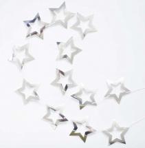 Гирлянда Звезды с вырубкой 2,2 м, серебро