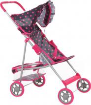 Коляска для кукол Buggy Boom Mixy с корзинкой, розовый горошек/черный фон