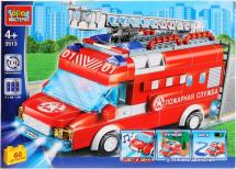 Конструктор Город мастеров Пожарная машина со светом, звуком и мотором 60 деталей