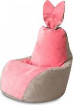 Бескаркасное кресло-мешок Зайка, серо-розовый