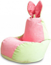 Бескаркасное кресло-мешок Зайка, салатово-розовый