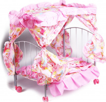 Кроватка для куклы Buggy Boom Loona с балдахином, мишки (розовый)