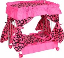 Кроватка для куклы Buggy Boom Loona с балдахином, круги (розовый)