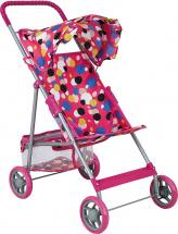 Коляска для кукол Buggy Boom Mixy с корзиной, разноцветные круги (розовый)