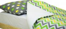 Постельное белье Звезды и зигзаги, желтый/зеленый/белый/графит