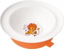 """Тарелка Lubby """"Веселые животные"""" с присоской 300 мл, оранжевый (львенок)"""