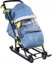 Санки-коляска Ника детям 7-7, в джинсовом стиле синий