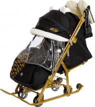 Санки-коляска Ника детям 7-2, черный с бежевым