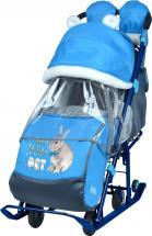 Санки-коляска Ника детям 7-2, с кроликом васильковый