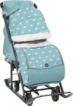 Санки-коляска Ника детям 7-1Б, с облачками голубой