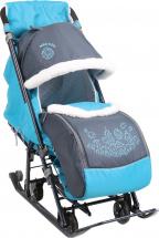 Санки-коляска Ника детям 7-1, серый с бирюзовым