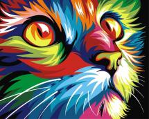 Картина по номерам Polly Радужный кот 50х40 см