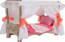 Мебель для кукольного домика Polly Чудо-кровать с балдахином и спальным набором