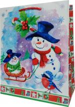 Пакет подарочный Снеговик 26х32 см