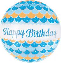 """Воздушный шарик 18""""/45см С днем рождения! Круг голубой фольгированный"""