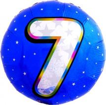 """Воздушный шарик 18""""/45см Цифра 7. Круг голубой фольгированный"""