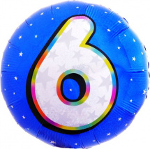 """Воздушный шарик 18""""/45см Цифра 6. Круг голубой фольгированный"""