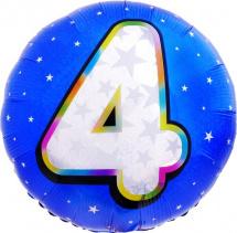 """Воздушный шарик 18""""/45см Цифра 4. Круг голубой фольгированный"""