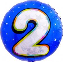 """Воздушный шарик 18""""/45см Цифра 2. Круг голубой фольгированный"""