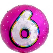 """Воздушный шарик 18""""/45см Цифра 6. Круг розовый фольгированный"""