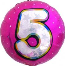 """Воздушный шарик 18""""/45см Цифра 5. Круг розовый фольгированный"""
