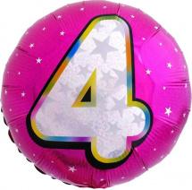 """Воздушный шарик 18""""/45см Цифра 4. Круг розовый фольгированный"""