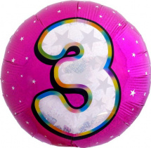 """Воздушный шарик 18""""/45см Цифра 3. Круг розовый фольгированный"""