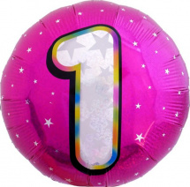 """Воздушный шарик 18""""/45см Цифра 1. Круг розовый фольгированный"""