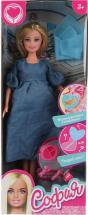 Кукла София беременная в джинсовом платье с аксессуарами