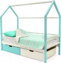 Кровать-домик Svogen с ящиками, белый/мятный