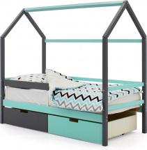 Кровать-домик Svogen с бортиком и ящиками, графит/мятный