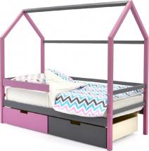 Кровать-домик Svogen с бортиком и ящиками, графит/лаванда