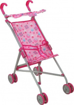Коляска-трость для кукол Buggy Boom Mixy с крышей, цветочки (розовый)