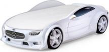 Кровать-машина NEO Мерседес объемная 3d с подсветкой фар, белый