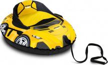 Тюбинг Ника со спинкой ТБМ2, спортивная машина (желтый)