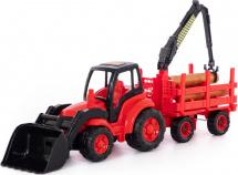 Трактор Полесье Чемпион с ковшом и прицепом-лесовозом