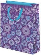 Пакет подарочный Снежинки 26х32 см, фиолетовый