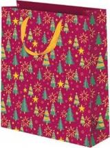 Пакет подарочный Елочки 26х32 см, красный