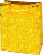 Пакет подарочный Голография 26х32 см, желтый