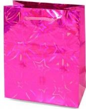 Пакет подарочный Голография 26х32 см, розовый