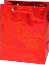 Пакет подарочный Голография 26х32 см, красный