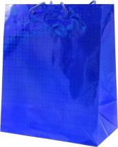 Пакет подарочный Голография 26х32 см, синий